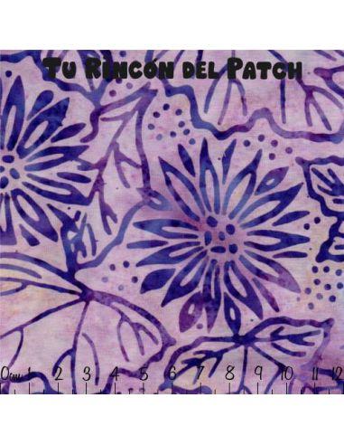 Batiks: (28) estampado flores sobre fondo morado