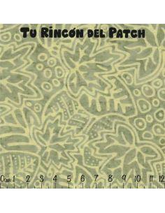 Batiks: (10) estampado de hojas sobre verde