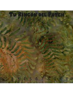 Batiks: (1) estampado de hojas sobre verde
