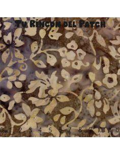 Batiks: (4) estampado de hojas en marron y morado