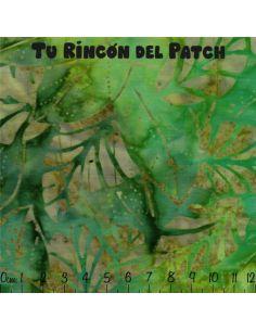 Batiks: (17) estampado de hojas sobre verde