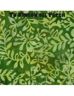 Batiks: (13) estampado de ramitas sobre verde