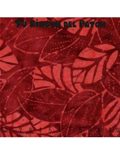 Batiks: (32) estampado de hojas sobre rojo
