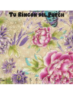 Flights of Fancy: flores y mariposas beige
