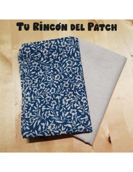 Lino: Kote Azul ramitas + Beige