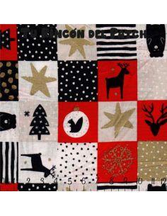 Noel: cuadrados en rojo y blanco