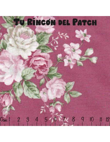 vintage roses: flores grandes sobre rosa