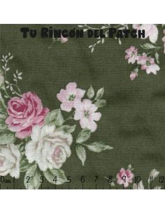vintage roses: flores pequeñas sobre verde