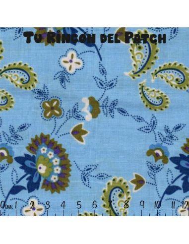 Dilly Day: flores sobre azul