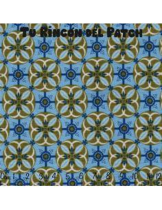 Dilly Day: flores sobre círculos azul