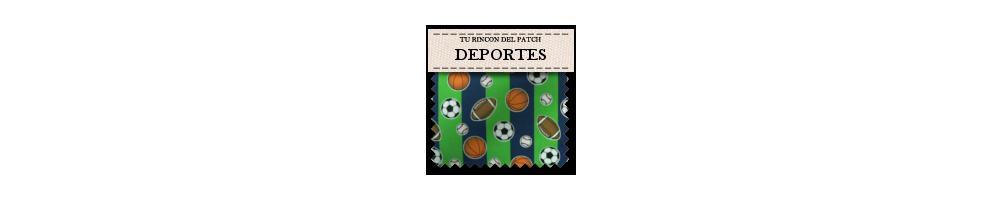 Telas económicas de patchwork con motivos de deportes. Turincondelpatch.com